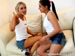 Sexy amateur British teen lesbians Poppy and Jools masturbating their little pussies on the couch