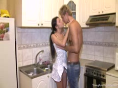 Katya and her neighbor have anal sex on her kitchen counter while her boyfriend's away