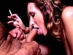 Sweety long haired darling Brooke Bennett smoking and sucking a big dick