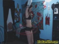 Pretty Tatted Teen Strip Hula Hoop