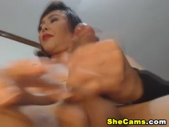 Juicy Cock Shemale Plays with Her Dick and Cum