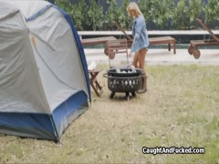 Busty teen almost busted on cock while camping