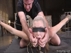 Bound and spreded slave gangbang fucked