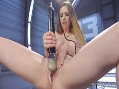 Pale brunette babe anal fucking machine
