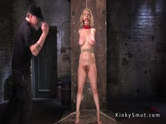 Hogtied busty blonde pussy toy fucked