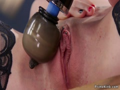 Slim pale hottie rides Sybian
