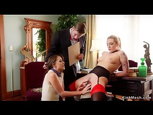 Butler has anal bdsm threesome ffm