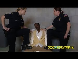 Milf cops take turns to suck and take shady pimps cock