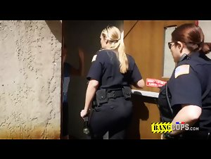 Naughty milf officers make suspect defile their coochies