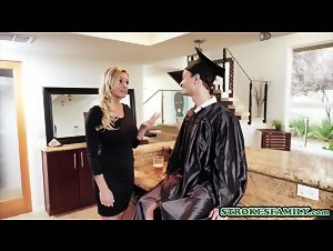 Cap And Gown Dick Down game with his busty stepmother